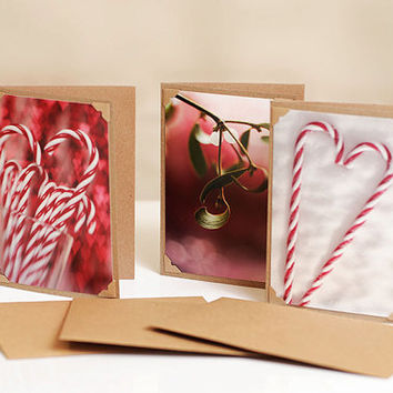 Photo greeting cards set, christmas cards, blank photo cards, handmade greeting card, holiday greeting cards, christmas photo prints
