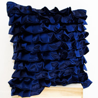Navy Blue Satin Ruffle Pillow - Decorative pillow - Dark Blue Ruffle throw pillow - Ruffle throw cushion - 4th of July pillow - gift