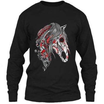 Cute Sugar Skull Horse  Day of the Dead  LS Ultra Cotton Tshirt