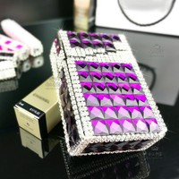 Automatic Cigarette Case Cigarette Smoke Ordinary Diamond Aluminum Metal Female Cigarette Box 20 Creative Gift