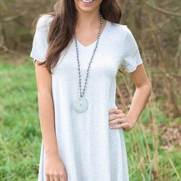 EVERLY: Simple As That V-Neck T-Shirt Dress-Grey