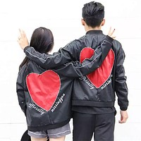 Unisex Fashion Stitching Love Heart Letter Embroidery Couple Loose Long Sleeve Zip Cardigan PU Leather Jacket Coat