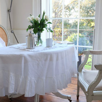 Linen Tablecloth, Ruffled Linen Tablecloth, Large Flax Tablecloth, Shabby Chic!