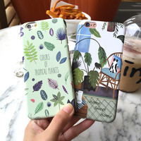 Hard plastic Plants Cactus Banana Leaves green Case For iphone 7 6 6S 4.7 Plus 5.5 Home corner Cartoon chair Phone Back Cover