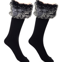 Black with Gray Faux Fur Embellished Socks