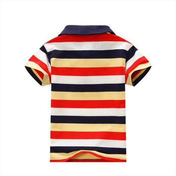Baby Children Boys Striped T-shirts Kids Tops Sports Tee Polo Shirts Clothing