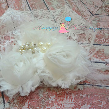 Victorian White Wide Lace headband ~ Baby Girl White Headband