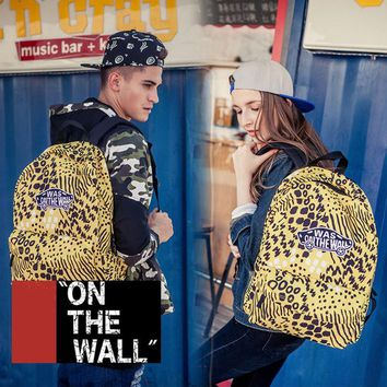 VansFashion Personality printing large capacity backpack bag leisure travel boom Yellow leopard 7 style