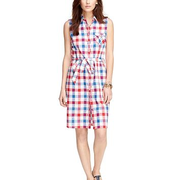 Women's Red Fleece Red and Blue Checkered Sleeveless Shirt Dress | Brooks Brothers
