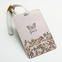 Personalised pu leather Luggage Tag, Office Tag, Travel Tag, School Bag Tag, Office Tag, Custom Name, flower and butterfly, pink (E14)