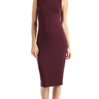 KNOTTED BACK MIDI DRESS - WINE