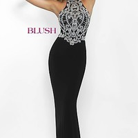 Long High Neck Open Back Prom Dress by Blush