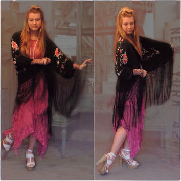 oriental black silk heavily embroidered kimono with long fringing & bright floral stitching / hippie boho Stevie Nicks duster