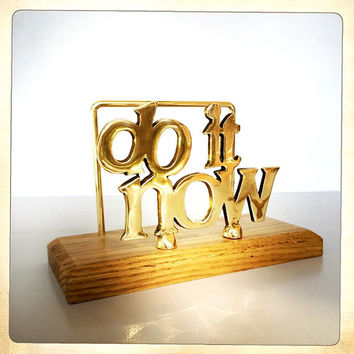 vintage Do It Now brass letter holder typography retro office gold desk accessory