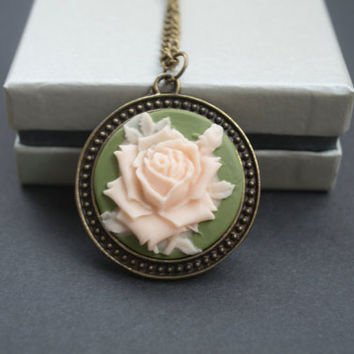 Cameo Necklace. Cameo Flower Pendant. Round Pendant. Olive Green and Peach. Long Necklace. Vintage Inspired, Antique Brass
