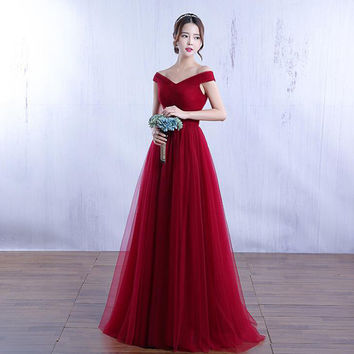Burgundy Red Pink Bridesmaid Dresses Off the Shoulder China Wedding Bridal Dress for Romantic Wedding Party Free Shipping 2017