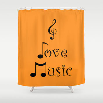 I Love Music - Tangerine Tango Shower Curtain by Moonshine Paradise