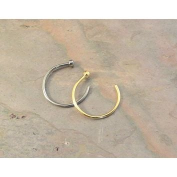 Pair of 18 Gauge Nose Hoops - Silver and Gold Nose Hoop Rings