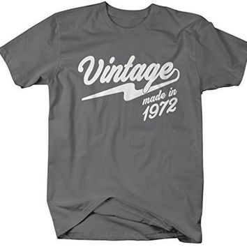 Shirts By Sarah Men's Vintage Made In 1972 T-Shirt Retro Birthday Shirts
