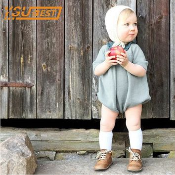 0-5Yrs Knitted Baby Rompers 2017 Autumn Long Sleeve Baby Girl Romper Knitted Dress Cotton Children Clothes Toddlers Jumpsuits