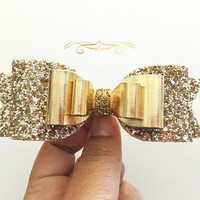 Large Gold Glitter Bow, Light Gold glitter bow, Gold Hair Clip- Wedding Bows-Leather bows-Teen accessories, Big Hair Clips, Women's Headband
