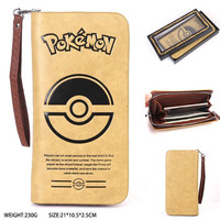 Free Shipping PU cartoon wallet Pokemon One Piece NARUTO OW Detective Conan Handle Long Wallet