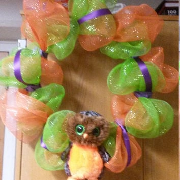 "18"" Fall Deco Mesh Wreath with TY Beanie Boo"