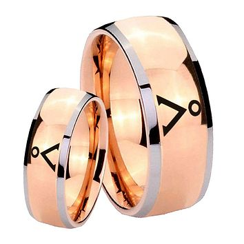 His Hers Rose Gold Dome Stargate Design Two Tone Tungsten Wedding Rings Set