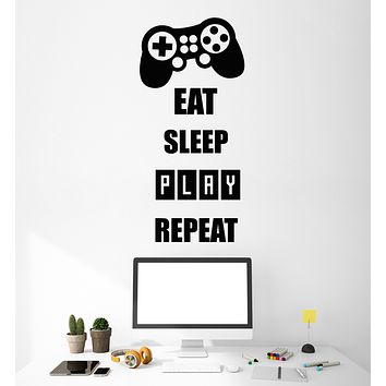 Vinyl Wall Decal Stickers Quote Words Eat Sleep Play Repeat Inspiring Letters 3355ig (10.5 in x 22.5 in)