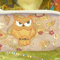 Owl Corduroy Wristlet Wallet Recycled Fabric hippie coin purse women tan