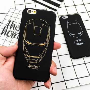 Luxury Cartoon Batman Plastic Hard Phone Cases Back Cover Coque Fundas for iPhone 6 Case for iPhone 6S 7 7 Plus 5 5S 5SE Capa