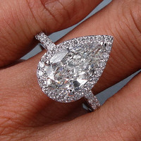 Pear Shape Diamond Engagement Ring 3.53ct EGL certified 18kt White Gold JEWELFORME BLUE