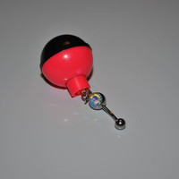 Pink and Black Fishing Lure Surgical Stainless Steel Belly Button Ring