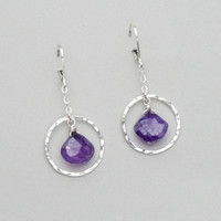 Hammered Hoop Purple Chalcedony Earrings