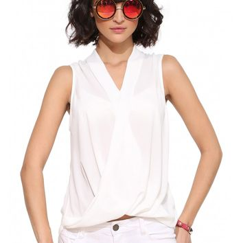 Lush Sleeveless Overlap Blouse