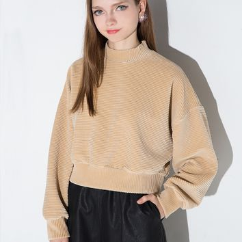 Tan Corduroy Balloon Sleeve Sweater