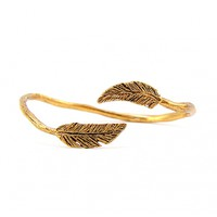 Mr. Kate | Floating Feathers Cuff Bracelet. Antiqued Gold.