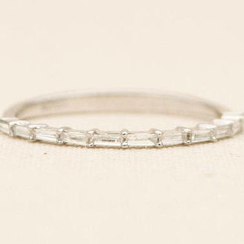 In Stock! Baguette Diamond Ring 14K Gold Thin Wedding Band Dainty Half Eternity Stacking Rings Engagement Unique Ring Christmas AD1219