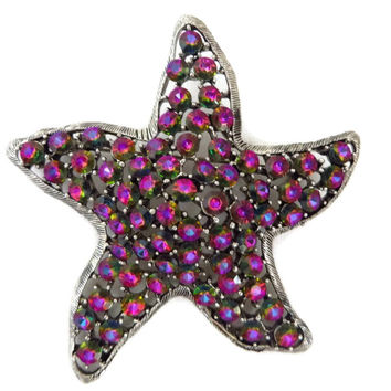 Weiss Pink Star Brooch, Vintage Shining Star Brooch, Signed Weiss Jewelry Birthday Anniversary Gift