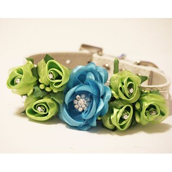Blue Green Wedding Dog Collar, Floral Wedding Dog Accessory