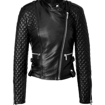 Ladies Soft Lamb Nappa Quilted Sleeves Leather Jacket