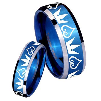His Her Shiny Blue Bevel Hearts and Crowns Two Tone Tungsten Wedding Rings Set