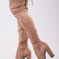 Pretty In Thigh High Boots - Mocha