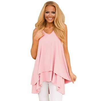 Pink Ruffled Layer Asymmetric Hem Tunic Tank