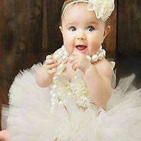 White Tulle Infant Baby Tutu (3 Piece Set) - CC550