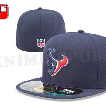 New Era 5950 HOUSTON TEXANS NFL On Field Game Cap Fitted Navy Blue Hat 59FIFTY