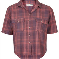 MOTO Soft Checked Cropped Shirt - Raspberry