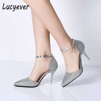 Lucyever Fashion Buckle Crystals Bling Elegant Thin High Heels Party Wedding Shoes