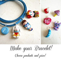 Alice in Wonderland jewelry, Custom Charm Bracelet, Choose your charms and price