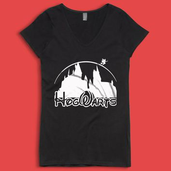 Harry Potter Hogwart Disney Castel Women'S V Neck